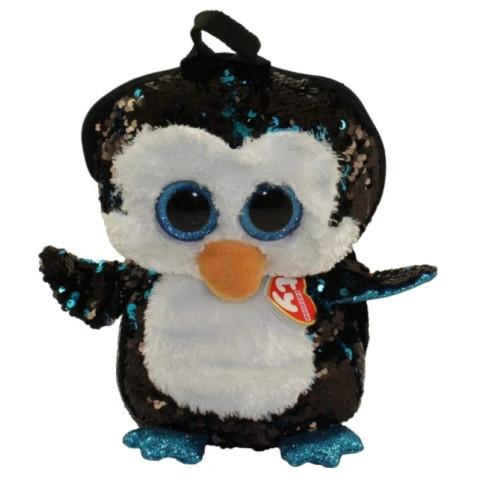 Mini Rucsac Din Pluș Cu Paiete Pinguinul Waddles Ty