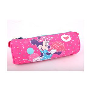 Penar Etui Tubular Roz-Dots Color Minnie Mouse