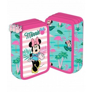 Penar 3 fermoare roz-verde Minnie Mouse