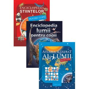 Pachet Atlasul ilustrat al lumii pentru copii + Enciclopedia lumii pentru copii+Enciclopedia științelor