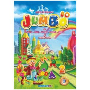 Jumbo 80. Carte de colorat bilingvă (Vol. 2 Alfabet, Cifre, Fructe, Legume, Culori și abțibilduri)