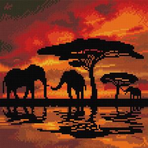 Craft Buddy Elephant Silhouette 30X30cm Crystal Art Kit