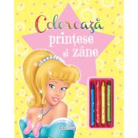 Colorează prințese și zâne (+4 creioane)
