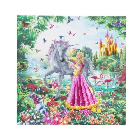 Set creativ tablou cu cristale Crystal Art The Princess and The Unicorn 30x30cm Craft Buddy