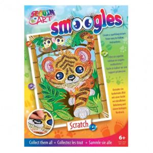 Set Creativ Smoogles - Tigrul Scratch 25x34cm Sequin Art