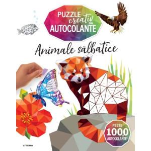 Animale sălbatice. Puzzle creativ din autocolante