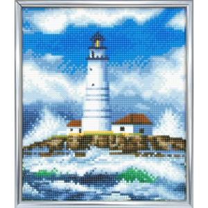 Set creativ crystal art in ramă foto argintie The Lighthouse 21x25 cm