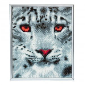 Set creativ Crystal Art in ramă foto argintie Snow Leopard 21x25cm Craft Buddy