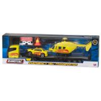 Camion transportor cu elicopter, mașinuță și semne de circulație