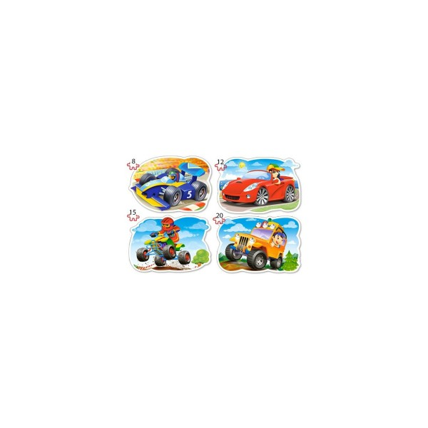 Puzzle 4 in 1 Castorland - Ride for Fun, 8/12/15/20 piese