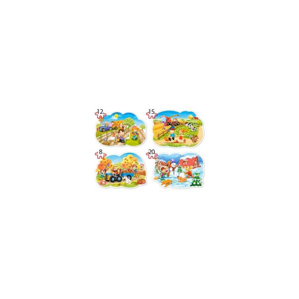 Puzzle Castorland 4 in 1 Contur - Four Season, 8/12/15/20 Piese