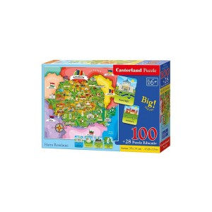 Puzzle Castorland - Educativ Harta României, 128 piese