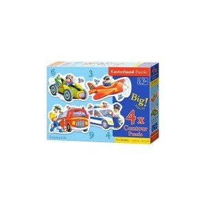 Puzzle 4 in 1 Castorland - Exciting Jobs, 3/4/6/9 piese