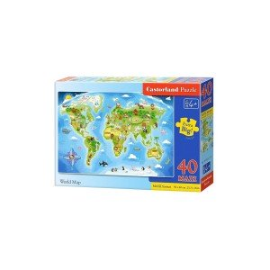 Puzzle Castorland Maxi - World Map, 40 Piese