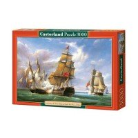 Puzzle Castorland Combat between the French and the English Vessels - Pierre J. Gilbert, 3000 piese