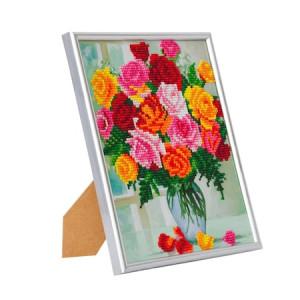Set creativ Crystal Art in rama foto argintie Flori 21x25cm, Craft Buddy