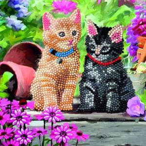 Set creativ tablou cu cristale Cat Friends, 18x18 cm, Craft Buddy