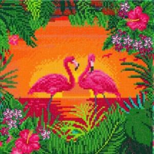 Set creativ tablou cu cristale Elegantele flamingo, 30x30 cm, Craft Buddy