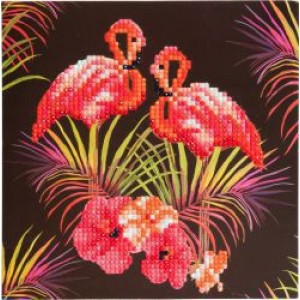 Set creativ tablou cu cristale Pink Flamingoes 18x18cm Craft Buddy