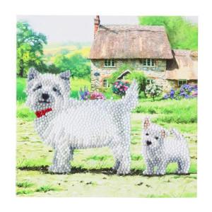 Set creativ tablou cu cristale Westie 18x18cm Craft Buddy