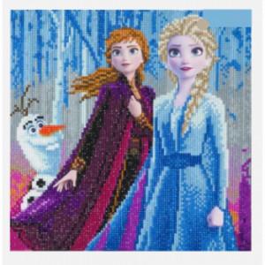Set creativ tablou cu cristale colecția Disney Elsa Anna and Olaf 30x30 cm Craft Buddy