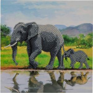 Set creativ tablou cu cristale Elefant 18x18cm Craft Buddy