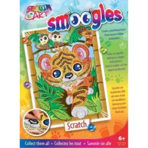 Set Creativ Smoogles - Tigrul Scratch 25x34cm Sequin Art