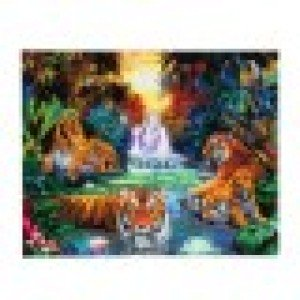 Set creativ tablou cu cristale, Crystal Art Tigers at the jungle pool 40X50CM, Craft buddy