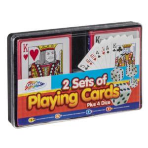 Set 2 Pachete De Cărti De Joc Și 4 Zaruri, Grafix