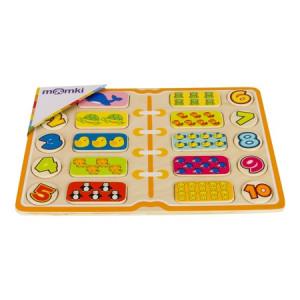 Puzzle din lemn Momki, Învățăm să numărăm, 20 piese