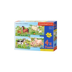 Puzzle 4 in 1 Castorland - Animal Moms and Babies, 8/12/15/20 piese