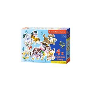 Puzzle Castorland 4 in 1 - Animals With Babies, 4/5/6/7 Piese